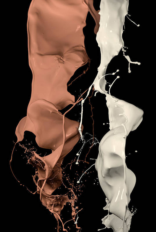 Abstract Art Print featuring the photograph Milk And Liquid Chocolate Splash by Andy Astbury