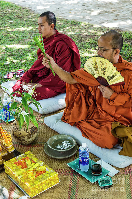 Buddhist Art Print featuring the photograph Monks Blessing Buddhist Wedding Ceremony In Cambodia by Jacek Malipan