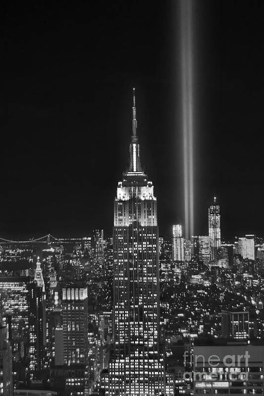 New York City Skyline At Night Art Print featuring the photograph New York City Tribute In Lights Empire State Building Manhattan At Night Nyc by Jon Holiday