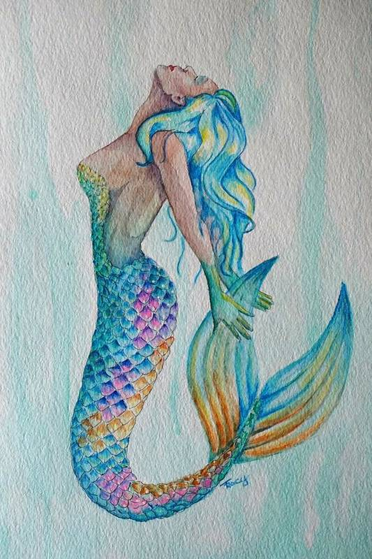 Mermaid Art Print featuring the painting Ocean Beauty by Tracy Anthony