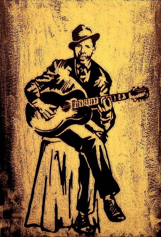 Musicians Art Print featuring the painting Robert Johnson by Jeff DOttavio