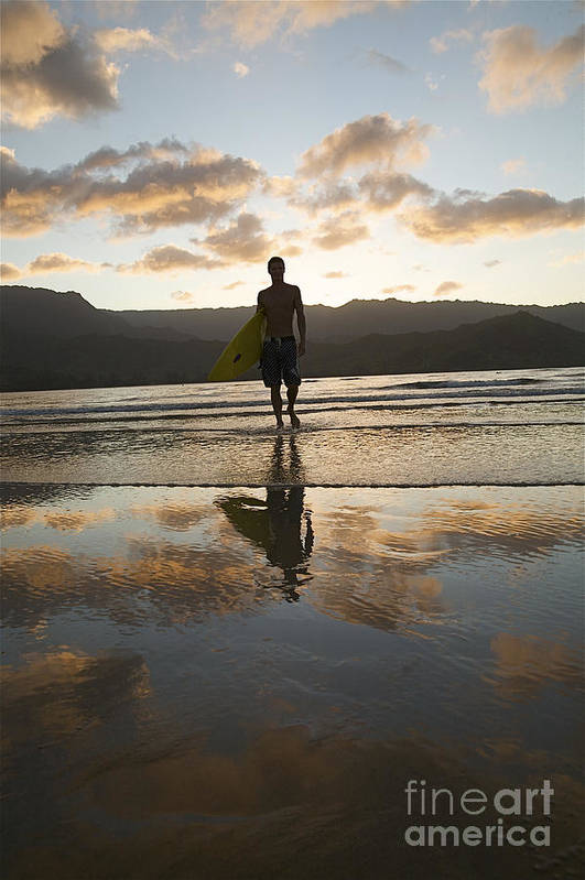Active Art Print featuring the photograph Sunset Surfer by Kicka Witte - Printscapes