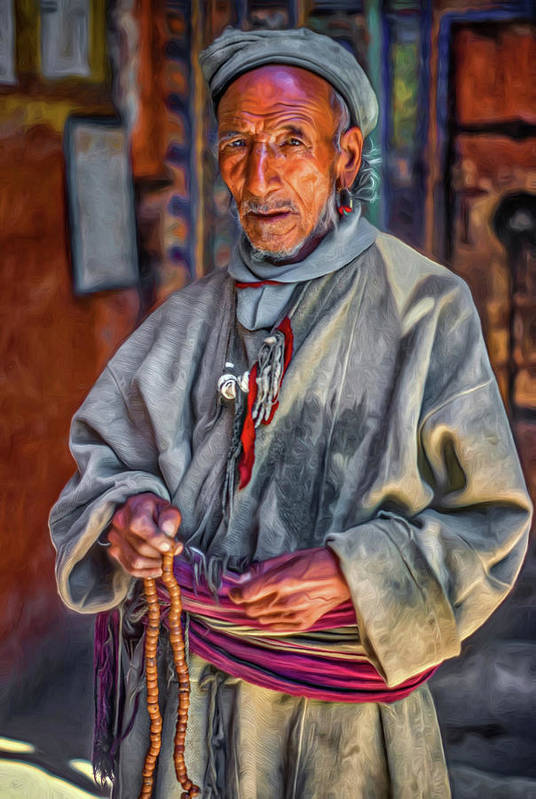 Himalaya Art Print featuring the photograph Tibetan Refugee - Paint by Steve Harrington