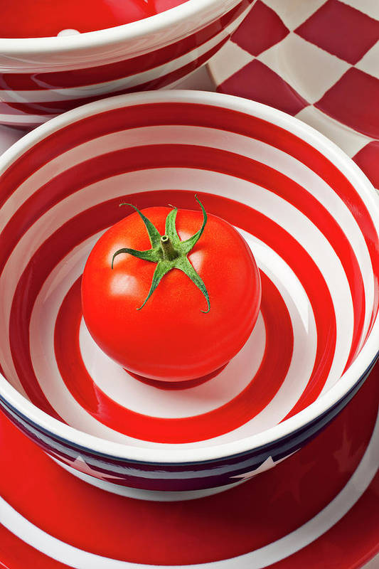 Tomato Art Print featuring the photograph Tomato In Red And White Bowl by Garry Gay