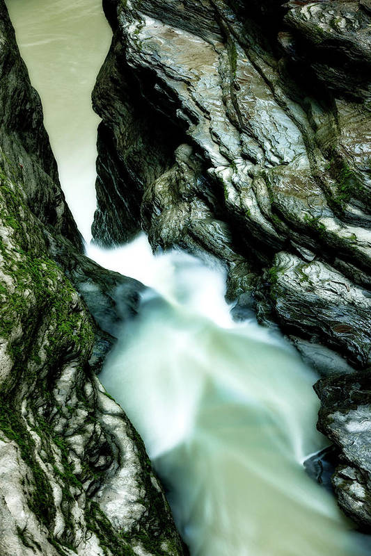 Waterfall Art Print featuring the photograph Up The Down Waterfall by Howard Yermish