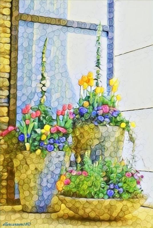 Floral Art Print featuring the digital art Window Dressing by Ellen Cannon
