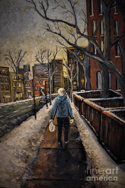 Montreal Art Print featuring the painting Winter In The City by Reb Frost