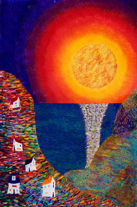 Abstract Art Print featuring the painting 16-7 Village Sun by Patrick OLeary