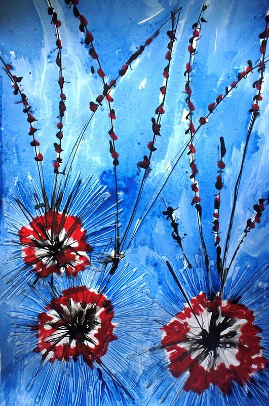 Floral Art Print featuring the painting Heavenly Flowers by Baljit Chadha