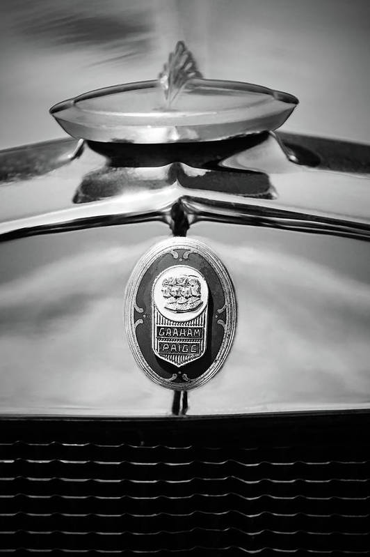 1929 Graham-paige Sport Roadster Emblem Art Print featuring the photograph 1929 Graham-paige Sport Roadster Emblem -0810bw by Jill Reger