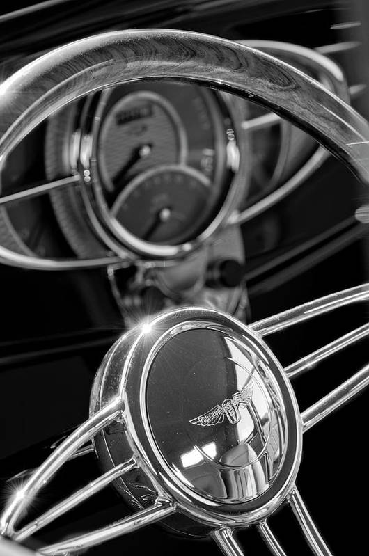 1932 Ford Art Print featuring the photograph 1932 Ford Hot Rod Steering Wheel 4 by Jill Reger