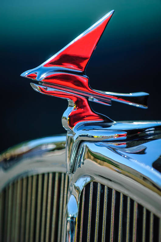 Car Art Print featuring the photograph 1933 Franklin Olympic Hood Ornament by Jill Reger