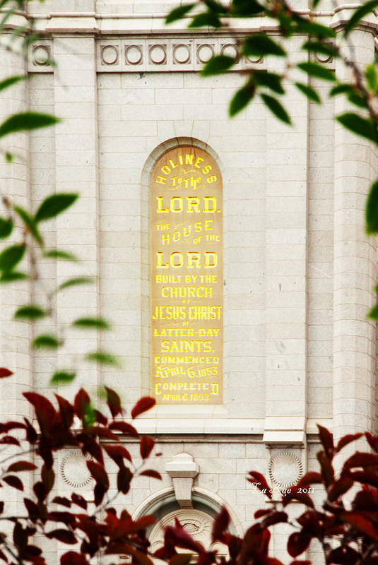 Slc Temple Art Print featuring the photograph Holiness To The Lord by La Rae Roberts