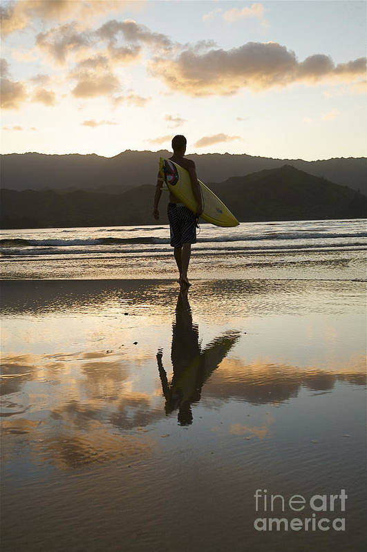 Active Print featuring the photograph Sunset Surfer by Kicka Witte - Printscapes
