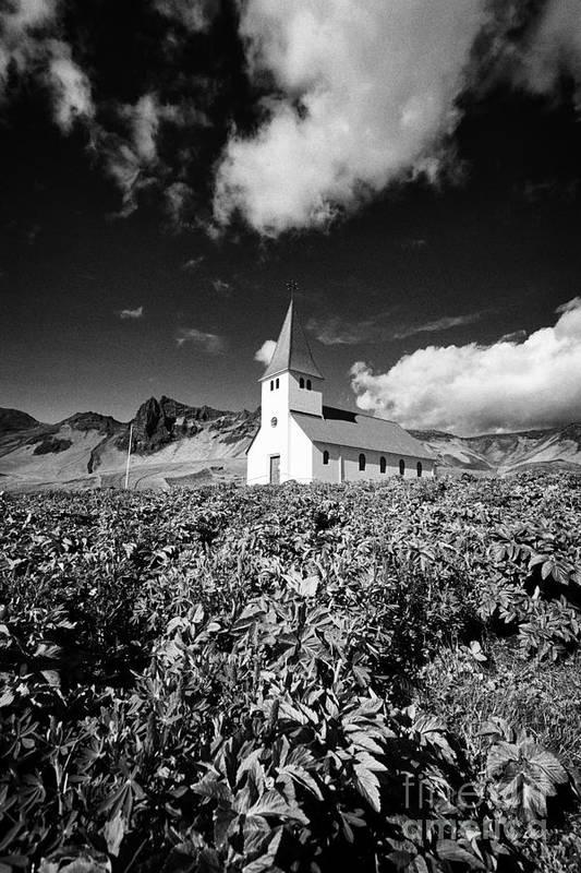 Vik Art Print featuring the photograph vik church Vik i Myrdal Iceland by Joe Fox