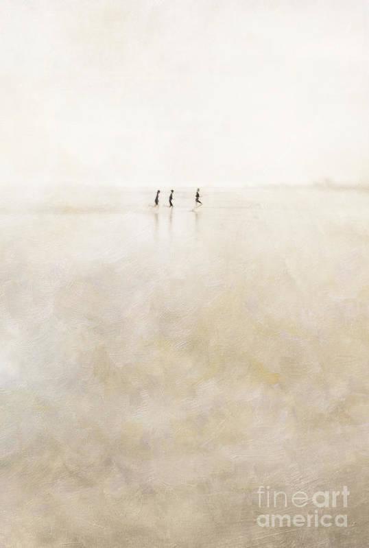 3 Art Print featuring the photograph 3 Girls Running by Paul Grand