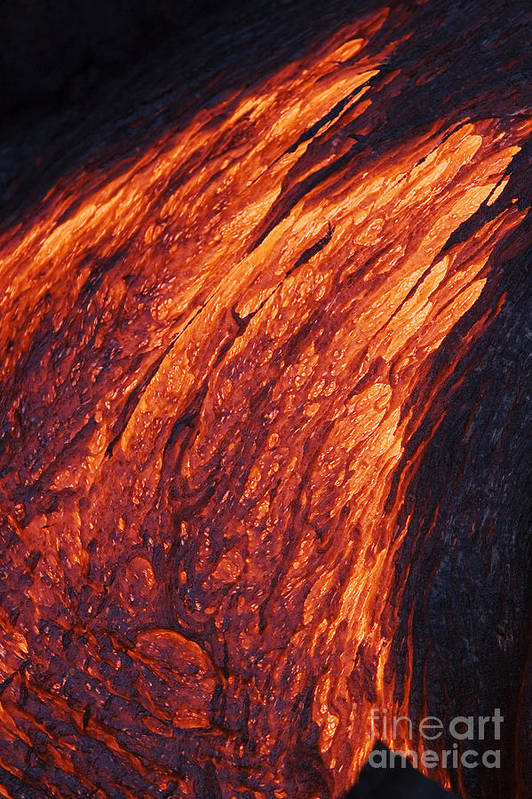 Active Art Print featuring the photograph Molten Pahoehoe Lava by Ron Dahlquist - Printscapes