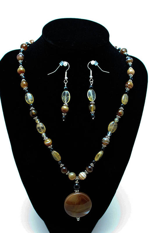 Jewelry Art Print featuring the jewelry 3509 Amber Striped Onyx Set by Teresa Mucha