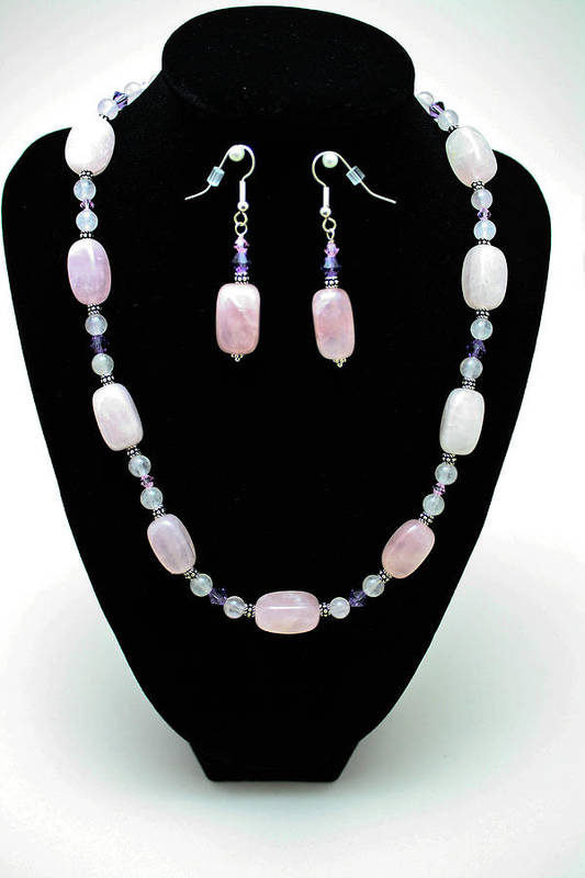 Jewelry Art Print featuring the jewelry 3560 Rose Quartz Necklace And Earrings Set by Teresa Mucha