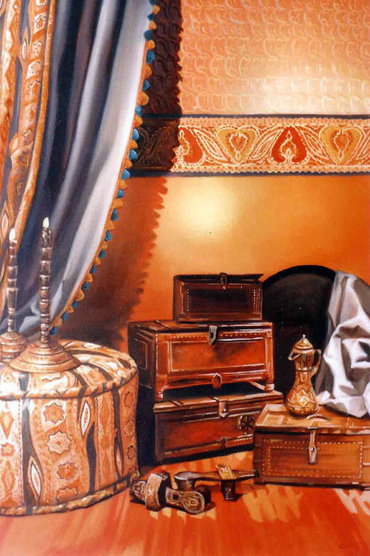 Oil Art Print featuring the painting Still Life by Chonkhet Phanwichien