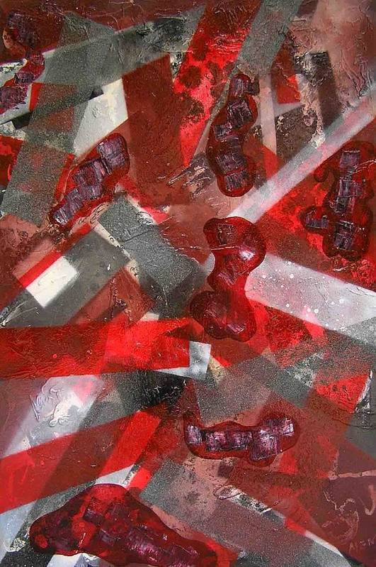Abstract Art Print featuring the painting 8 Red Objects by Evguenia Men