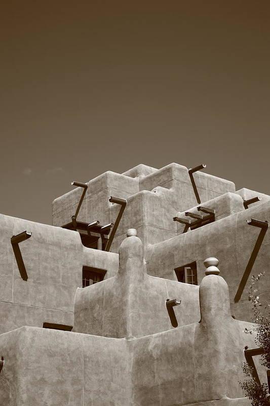66 Art Print featuring the photograph Santa Fe - Adobe Building by Frank Romeo