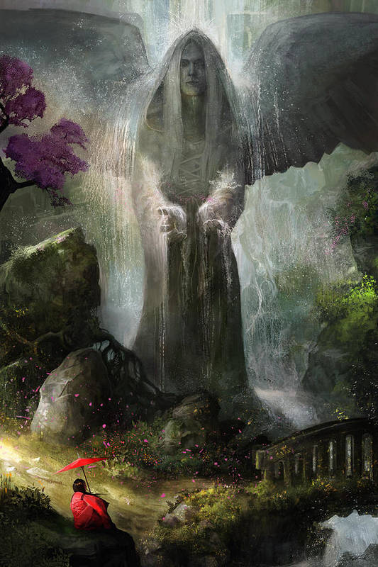 Angel Art Print featuring the painting A Place To Ponder by Steve Goad
