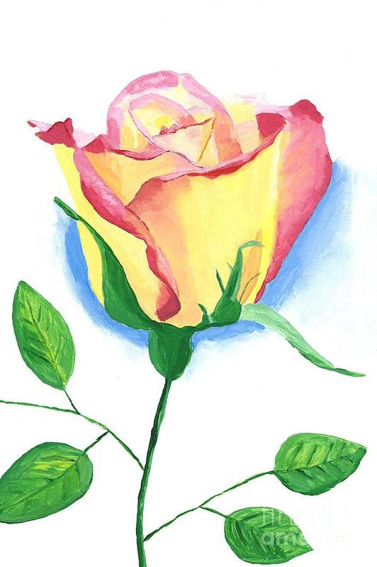 Rose Art Print featuring the painting A Single Rose by Rodney Campbell