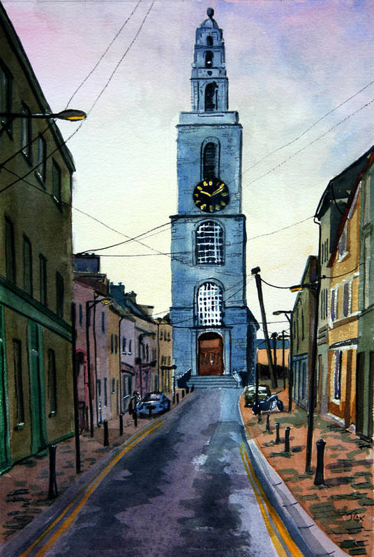 Town. City. Street. Ireland. Art Print featuring the painting A Street In Cork. by John Cox