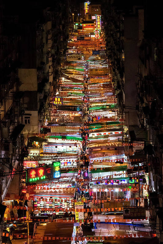 Hong Kong Art Print featuring the photograph Above Temple Street Night Market by Luke Finch