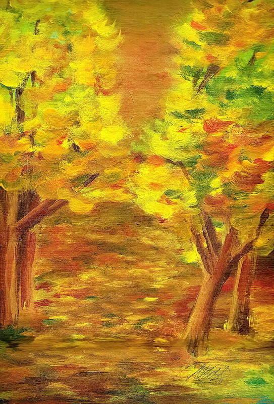 Landscape Art Print featuring the painting Aldergrove Lake Park by Vivian Mosley