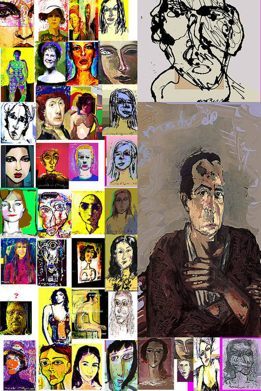 Faces Art Print featuring the mixed media All About Faces by Noredin Morgan
