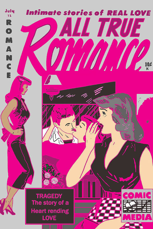 Comic Art Print featuring the digital art All True Romances 5 Pinks by Joy McKenzie