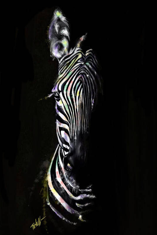 Zebras Art Print featuring the painting Zebra Fade Into Light by Mark Tonelli