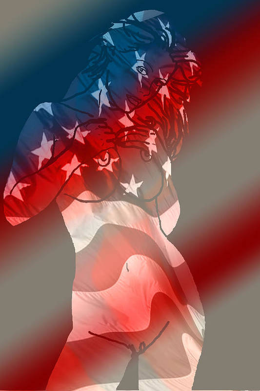 Nude Art Art Print featuring the painting America by Tbone Oliver