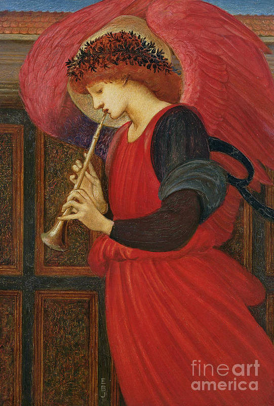 An Angel Playing A Flageolet (oil On Paper) Art Print featuring the painting An Angel Playing A Flageolet by Sir Edward Burne-Jones