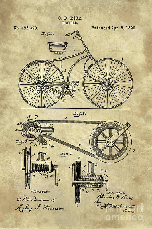Antique bicycle blueprint patent drawing plan industrial farmhouse bicycle art print featuring the drawing antique bicycle blueprint patent drawing plan industrial farmhouse by malvernweather Images