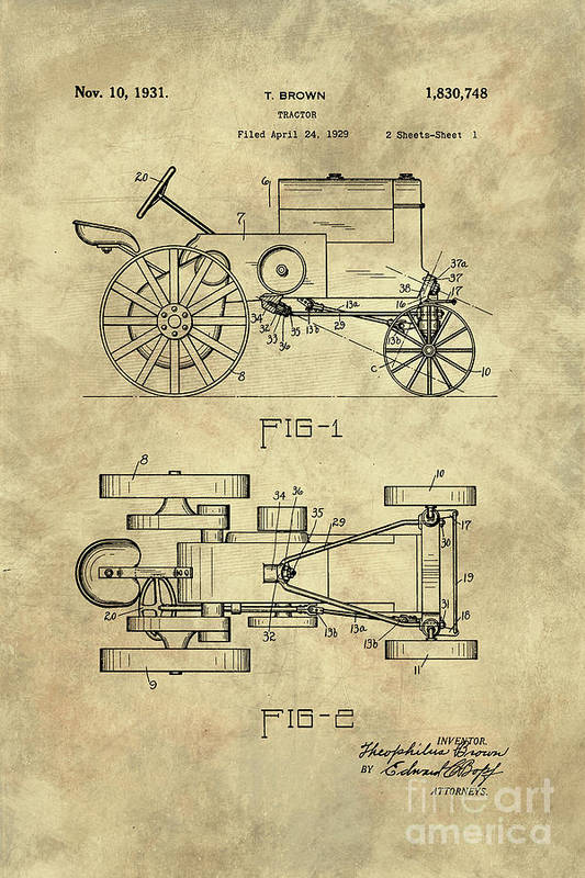 Antique tractor blueprint patent drawing plan from 1929 industrial tractor art print featuring the drawing antique tractor blueprint patent drawing plan from 1929 industrial malvernweather Gallery