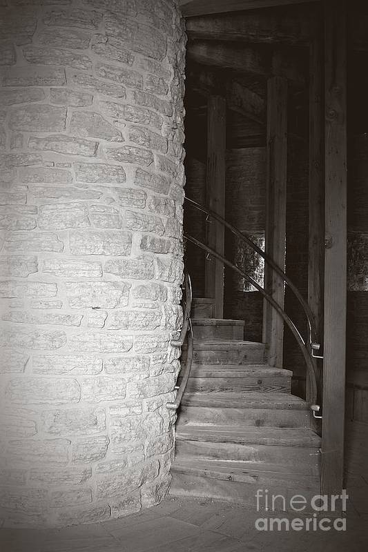 Staircase Print featuring the photograph Around The Corner by Giliane Mansfeldt