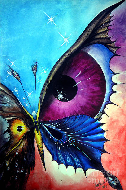 Astral Art Print featuring the painting Astral Butterfly. Soul - Memory - Mind by Sofia Metal Queen