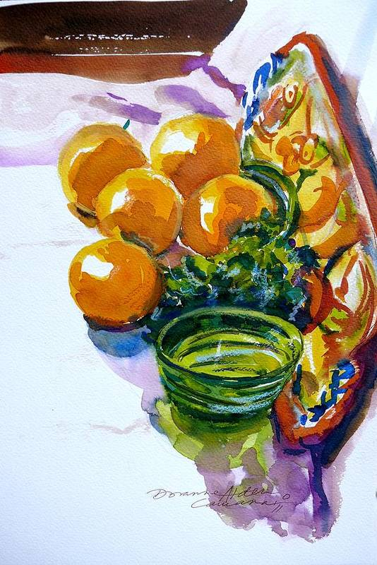 Fruit Art Print featuring the painting At An Awkward Angle by Doranne Alden