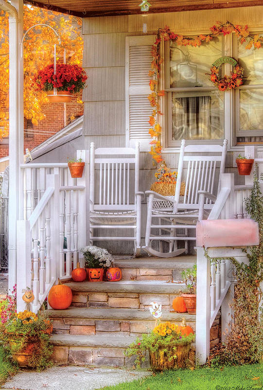 Savad Art Print featuring the photograph Autumn - House - My Aunts Porch by Mike Savad