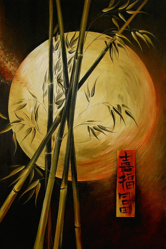 Asian Moon Bamboo Art Print featuring the painting Autumn Moon by Dina Dargo