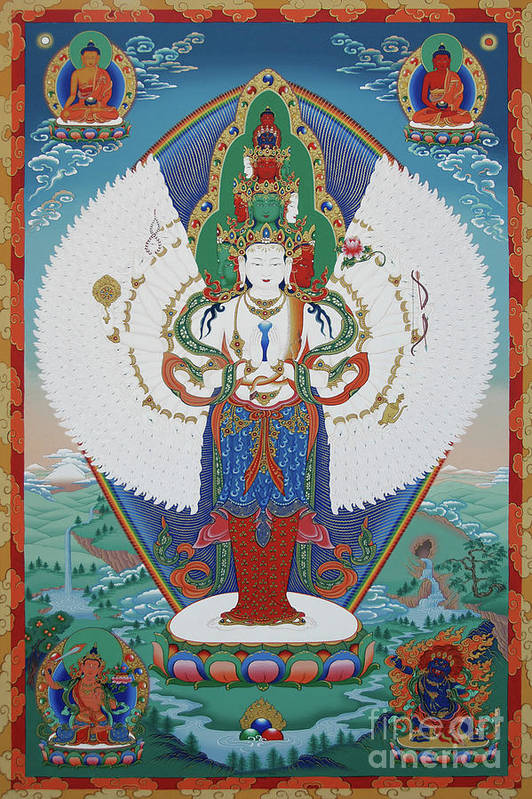 Chenrezig Art Print featuring the painting Avalokiteshvara Lord Of Compassion by Sergey Noskov