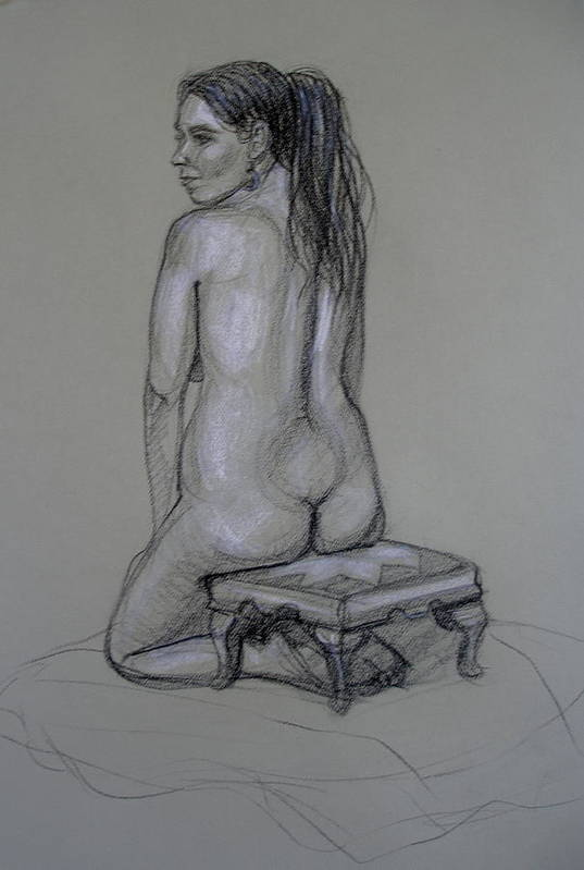 Realism Art Print featuring the drawing Back Nude 1 by Donelli DiMaria