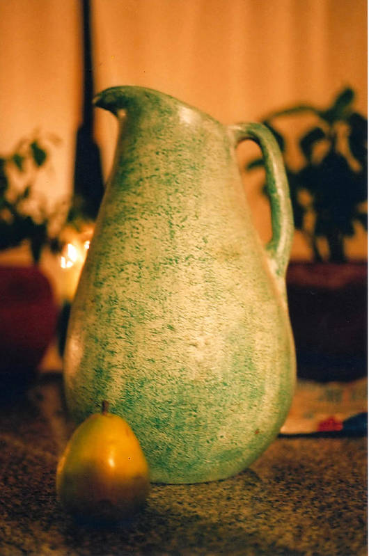 Still Life Art Print featuring the photograph Bali Pitcher And Pear by Heather S Huston