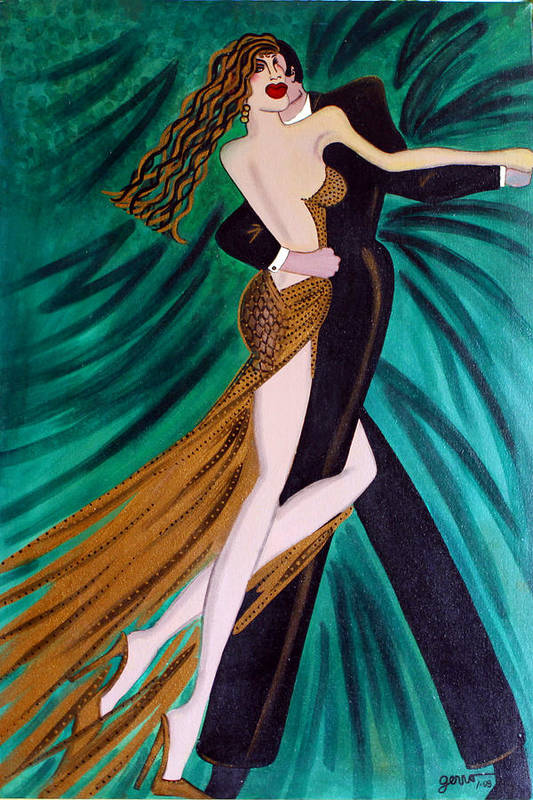 Ballroom Dancers Art Print featuring the painting Ballroom Dancers Champagne Tango by Helen Gerro