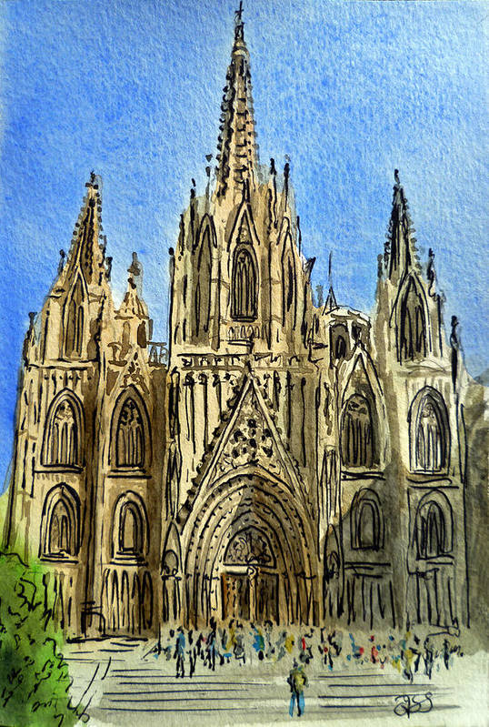 Barcelona Cathedral Art Print featuring the painting Barcelona Spain by Irina Sztukowski