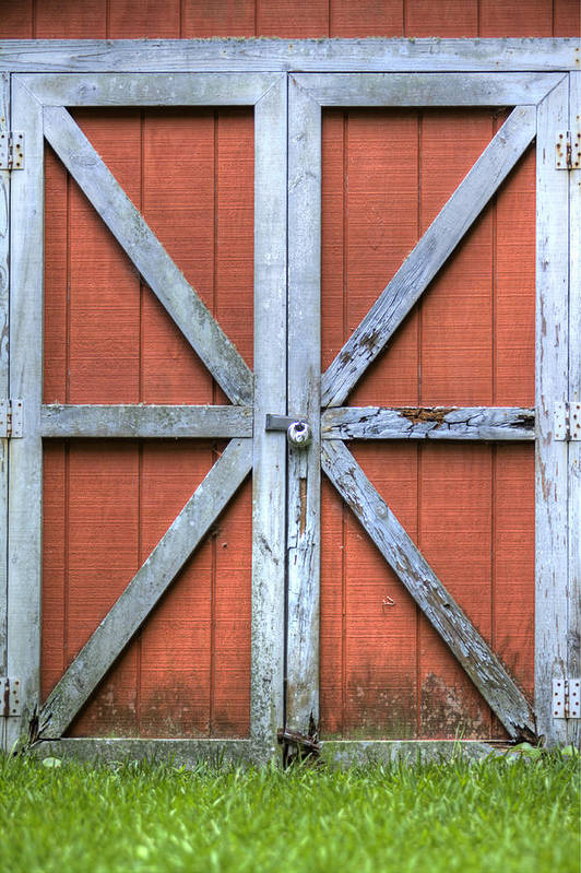 Barn Door Red Lock White Cross Dustin Ryan Charleston South Carolina Colorful Brittish Flag Art Print featuring the photograph Barn Door 3 by Dustin K Ryan