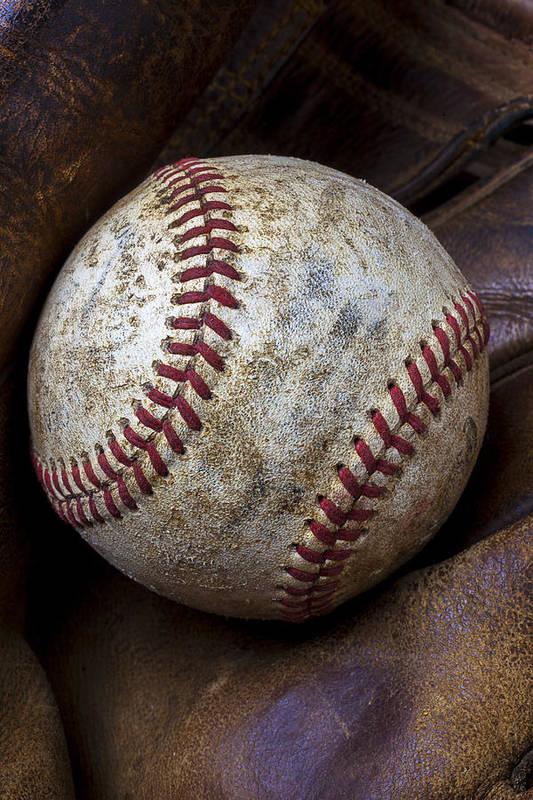 Old Mitt Art Print featuring the photograph Baseball Close Up by Garry Gay
